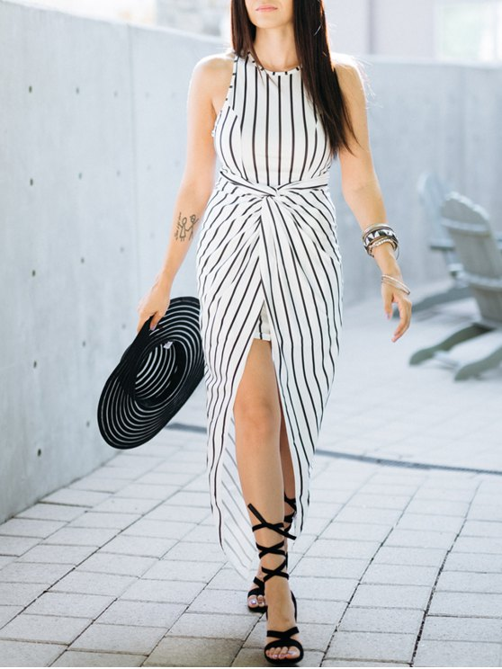 latest Draped Stripe High Low Maxi Dress - WHITE AND BLACK L
