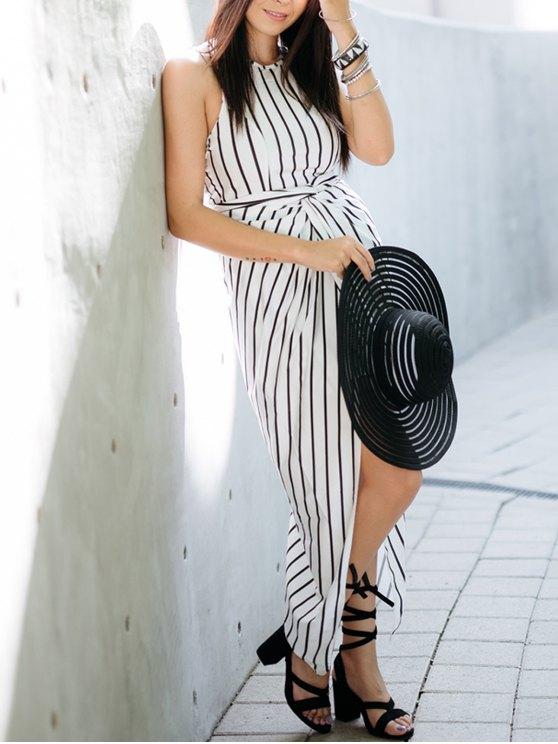 Draped Stripe High Low Maxi Dress - WHITE AND BLACK L Mobile