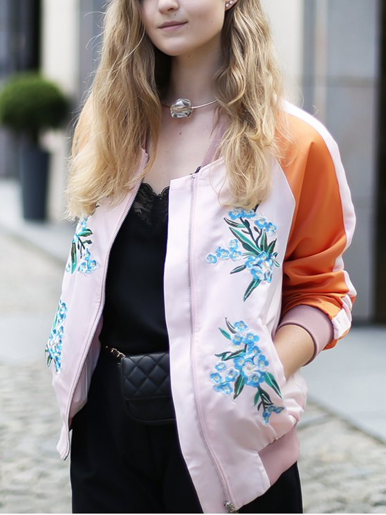 Floral Embroidery Baseball Jacket - PINK L Mobile