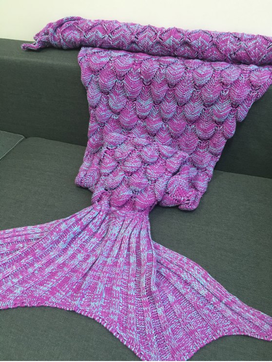 Fish Scales Design Mermaid Blanket - LIGHT PURPLE M Mobile