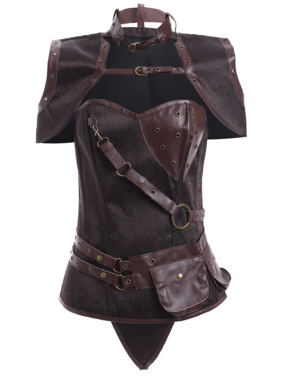 Faux Leather Steampunk Corset With T-Back - COFFEE 3XL Mobile