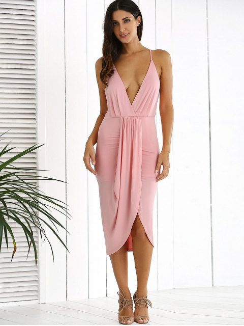 lady Low Cut Draped Party Wear Tulip Dress - PINK XL Mobile