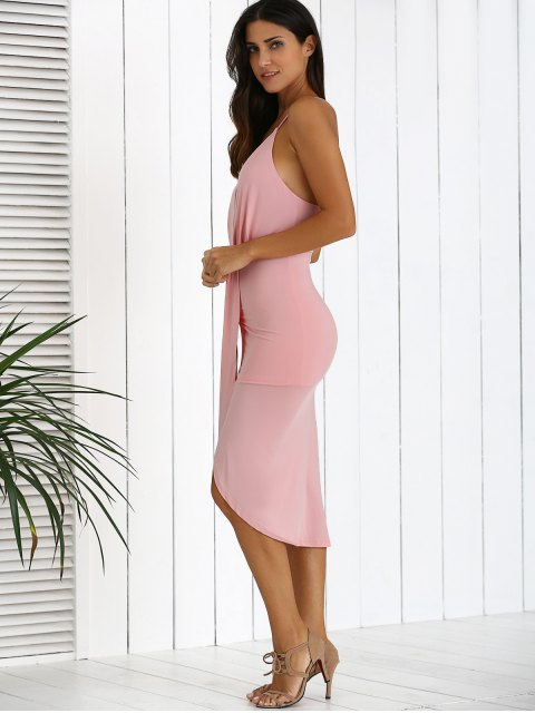 new Low Cut Draped Party Wear Tulip Dress - PINK S Mobile