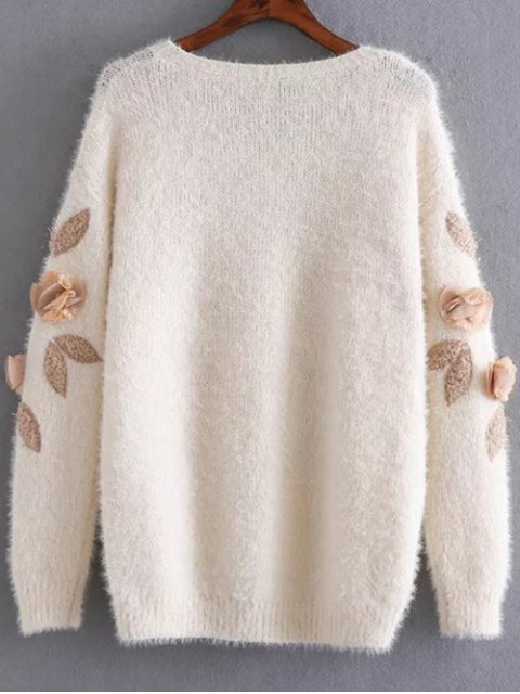 shops Applique Mohair Sweater - APRICOT ONE SIZE Mobile