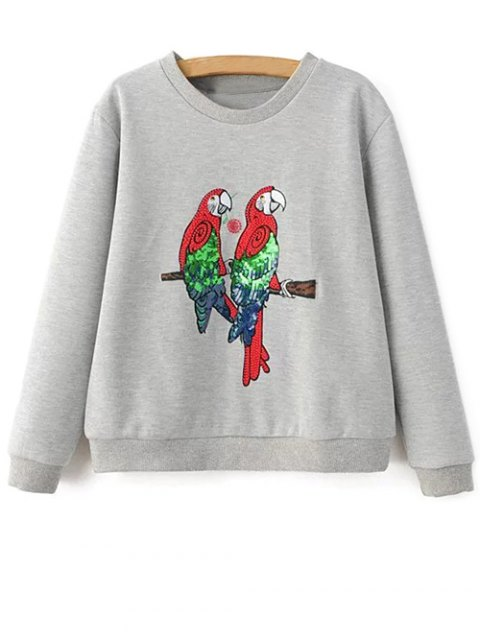 buy Parrot Embroidered Sweatshirt - LIGHT GRAY M Mobile
