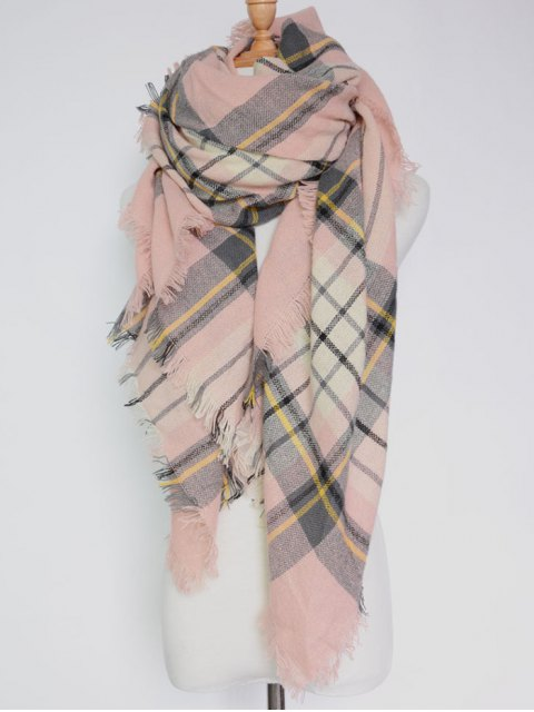 chic Plaid Pattern Fringed Square Scarf - PINK  Mobile