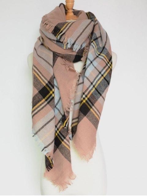 Echarpe en carré à franges en carreaux - Rose Abricot  Mobile