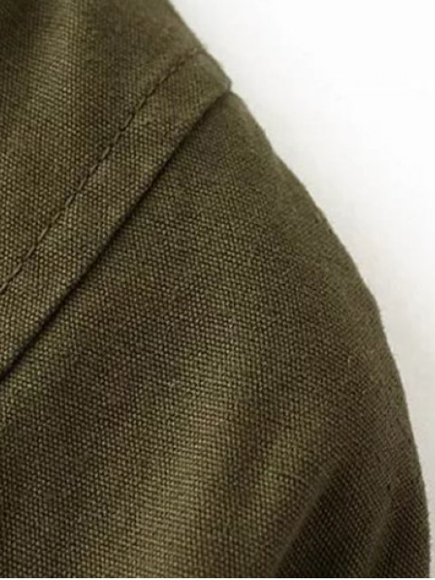 ladies Letter Pattern Stand Neck Coat - ARMY GREEN S Mobile