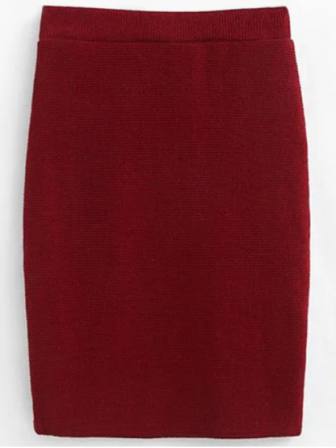 affordable Pullover Sweater and Knit Skirt - WINE RED S Mobile