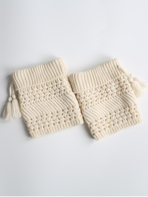 shops Tassel Flanging Knitted Boot Cuffs - WHITE  Mobile