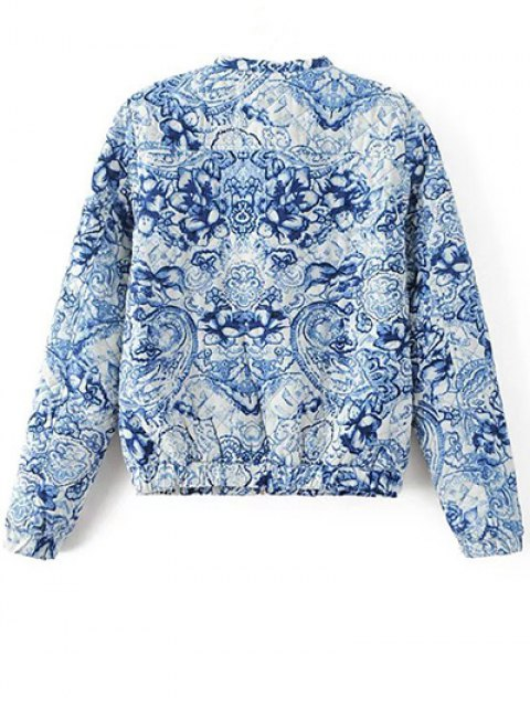 chic Porcelain Quilted Jacket - BLUE AND WHITE L Mobile