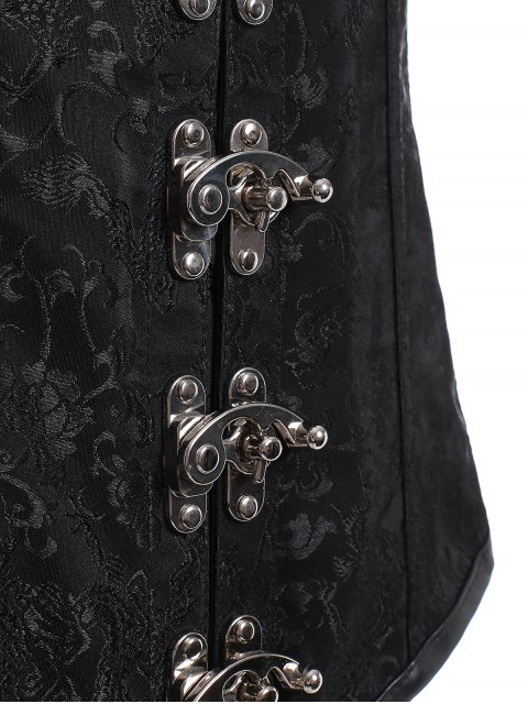 fancy Lace Up Alloy Buckle Corset With T-Back - BLACK L Mobile