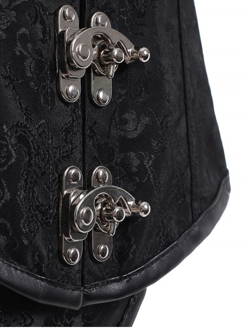 shop Lace Up Alloy Buckle Corset With T-Back - BLACK XL Mobile