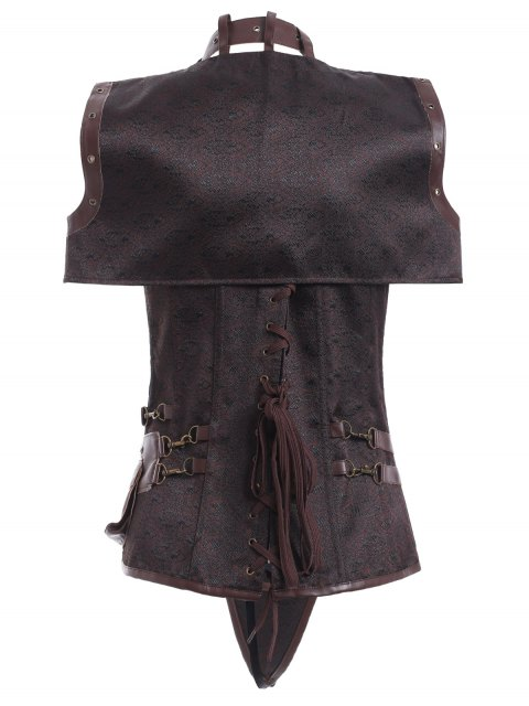 women Faux Leather Steampunk Corset With T-Back - COFFEE 3XL Mobile
