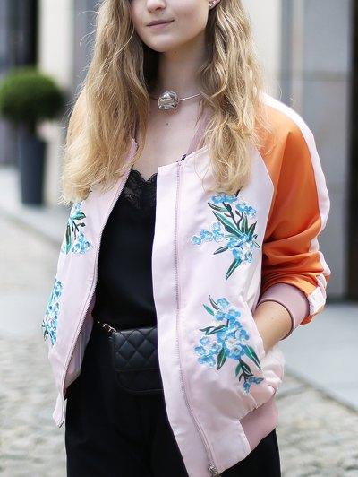 Floral Embroidery Baseball Jacket - PINK L Mobile
