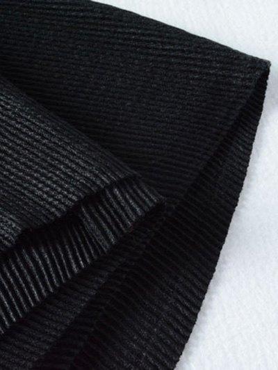 Pleated Tassel Long Scarf - BLACK  Mobile