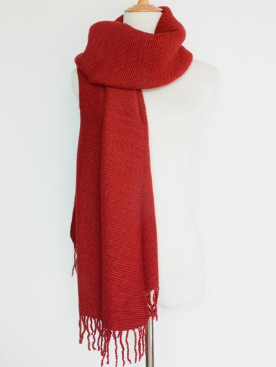 Pleated Tassel Long Scarf - RED  Mobile