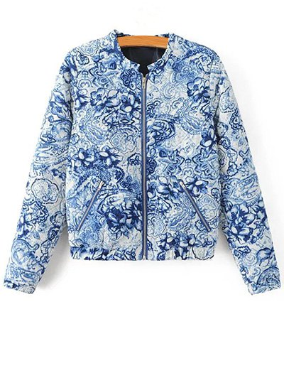 Porcelain Quilted Jacket - BLUE AND WHITE S Mobile