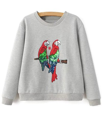 Parrot Embroidered Sweatshirt - LIGHT GRAY M Mobile