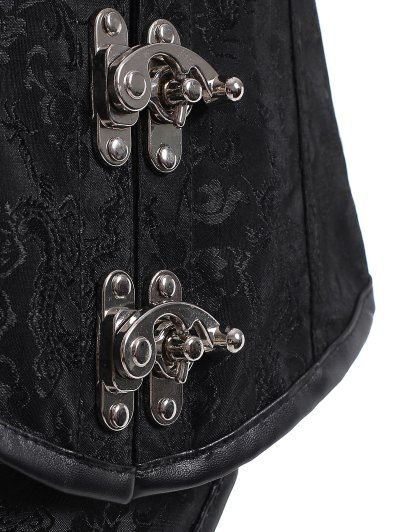 Lace Up Alloy Buckle Corset With T-Back - BLACK 6XL Mobile