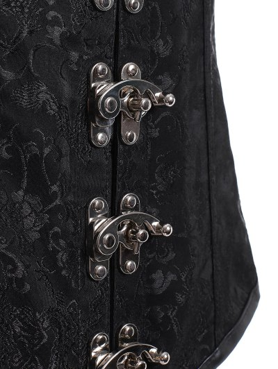 Lace Up Alloy Buckle Corset With T-Back - BLACK 5XL Mobile
