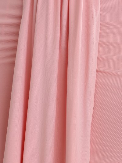 Plunging Neck Draped Party Wear Dress For Women - PINK L Mobile