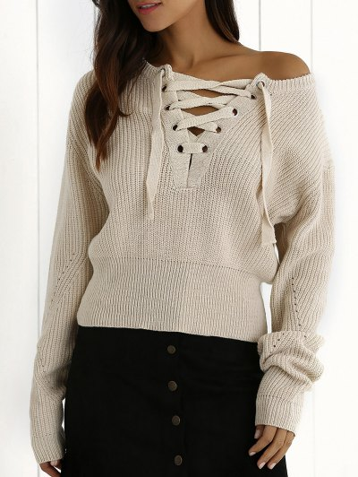 Ribbed Lace Up Cropped Jumper - Off-white
