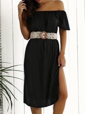 Side Slit Off Shoulder Shift Dress - Black