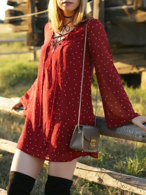 Stars Flare Sleeve Lace-Up Dress - Red