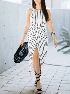 Draped Stripe High Low Maxi Dress - White And Black