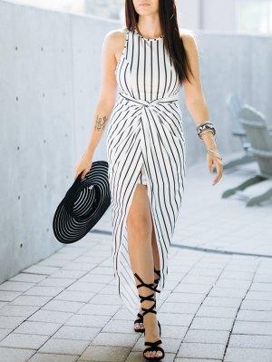 Draped Stripe High Low Maxi Dress - White And Black