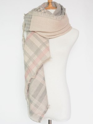 Plaid Houndstooth Pattern Fringed Square Scarf - Pink
