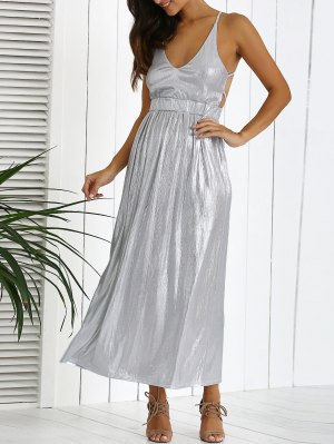 Backless Silver Evening Dress - Silver
