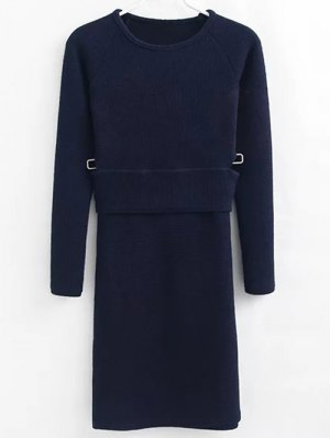 Pullover Sweater And Knit Skirt - Cadetblue