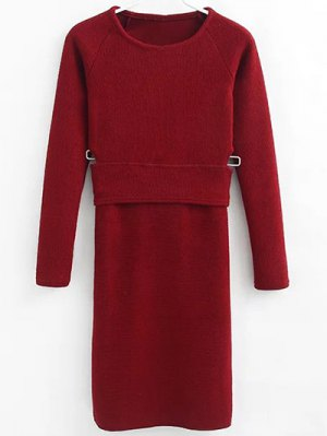 Pullover Sweater And Knit Skirt - Wine Red