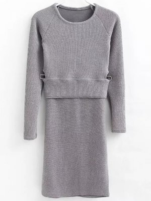 Pullover Sweater And Knit Skirt - Gray