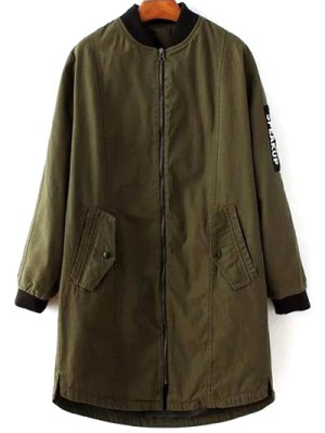Letter Pattern Stand Neck Coat - Army Green