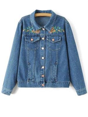 Flower Embroidered Denim Jacket - Denim Blue