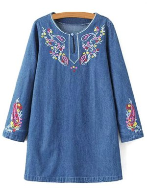 Embroidered Denim Long Sleeve Dress - Denim Blue