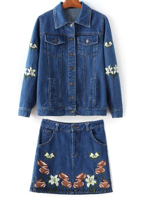 Embroidered Denim Jacket And Skirt - Denim Blue