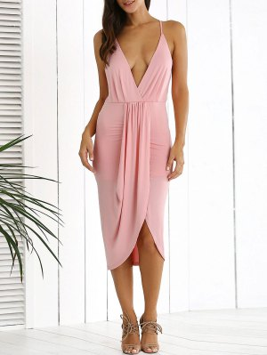 Low Cut Draped Party Wear Tulip Dress - Pink