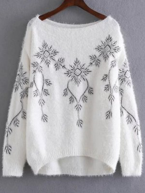 Embroidered Sequins Mohair Sweater - White