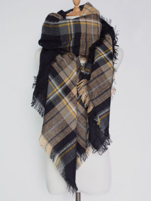 Plaid Pattern Fringed Square Scarf