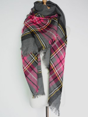 Plaid Pattern Fringed Square Scarf - Deep Gray