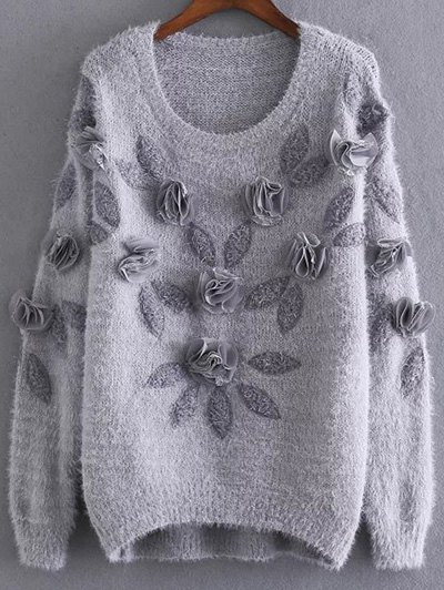 Round Neck Long Sleeve Applique Mohair Sweater
