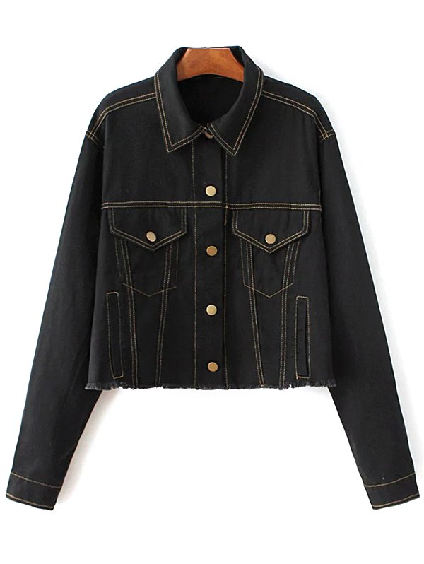 Shirt Neck Frayed Denim Jacket