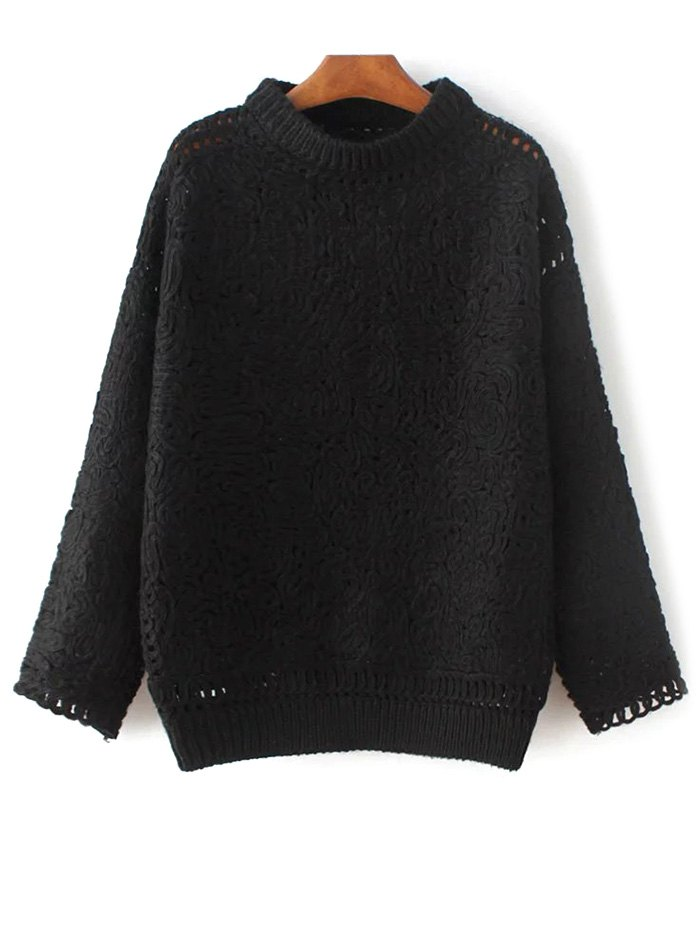 Stand Neck Long Sleeve Crochet Sweater