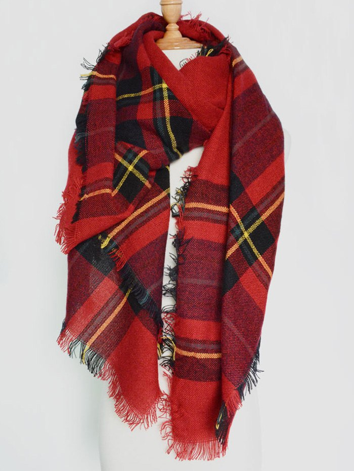 Plaid Pattern Fringed Big Square Scarf