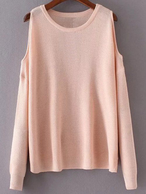 Round Neck Long Sleeve Cut-Out Sweater