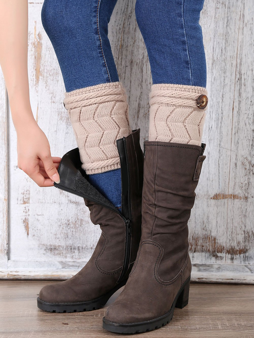 Button Letter W Shape Knitted Boot Cuffs